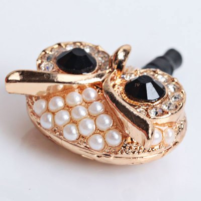 Fashion Owl Style Anti-Dust Plug with Artificial Rhinestone for iPhone 5 / 4 / 4S / iPod / Cellphone- GoldeniPhone Charms<br>Fashion Owl Style Anti-Dust Plug with Artificial Rhinestone for iPhone 5 / 4 / 4S / iPod / Cellphone- Golden<br>