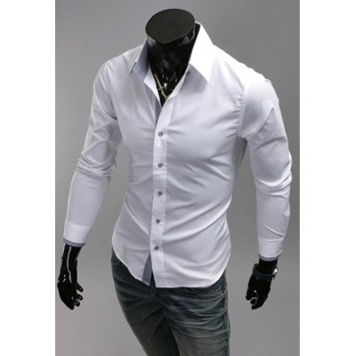 Simple Design Solid Color Shirt Collar Checked Splicing Long Sleeves Polyester Shirt For Men