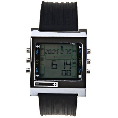 Гаджет   Multi - function TV - DVD Remote Control Watch with Calendar Square Dial and Silicon Band Watches