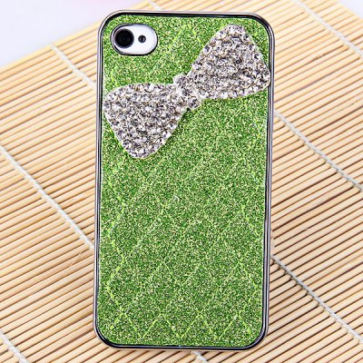 Glittering Powder Rhombus Line Bowknot Pattern Electroplated PC Case for iPhone 4 / 4S