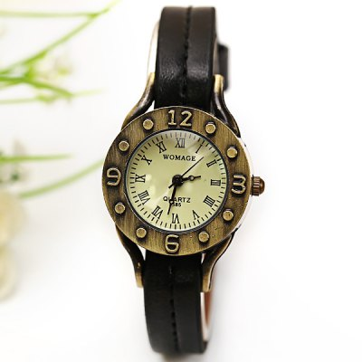 Гаджет   WoMaGe Quartz Watch 12 Roman Numbers Indicate Leather Watch Band for Women - Dark Brown Women