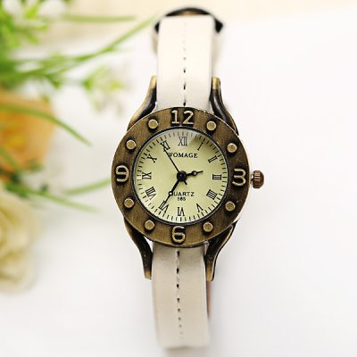 Гаджет   WoMaGe Quartz Watch 12 Roman Numbers Indicate Leather Watch Band for Women - Dark Brown