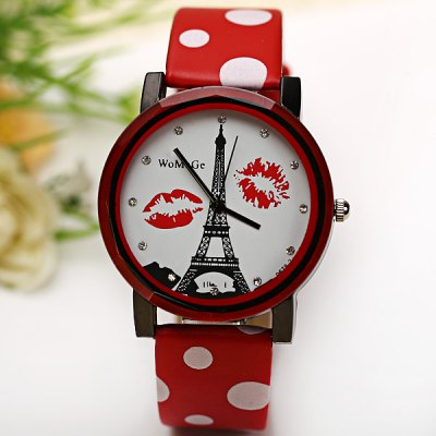 Гаджет   WoMaGe Quartz Watch Diamond Dots Indicate Leather Watch Band for Women - Red Women