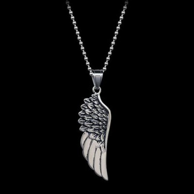 Chic Angels Wing Shape Necklace For MenMens Jewelry<br>Chic Angels Wing Shape Necklace For Men<br><br>Item Type: Pendant Necklace<br>Gender: Men<br>Metal Type: Titanium<br>Style: Trendy<br>Length: 48CM<br>Weight: 0.1KG<br>Package Contents: 1 x Necklace