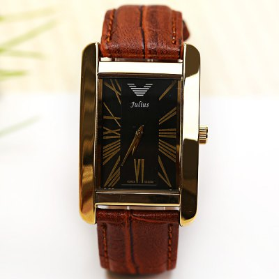 Luxury Watches with Rectangle Dial and Leather Band for MenMens Watches<br>Luxury Watches with Rectangle Dial and Leather Band for Men<br><br>Brand: Julius<br>Watches categories: Male table<br>Watch style: Fashion<br>Available color: Black<br>Movement type: Quartz watch<br>Shape of the dial: Rectangle<br>Display type: Pointer<br>Case material: Metal<br>Case color: Gold<br>Band material: Leather<br>Clasp type: Pin buckle<br>Band color: Brown<br>Special features: Three needles<br>Waterproof: Life waterproof<br>The dial thickness: 0.7 cm<br>The dial diameter: 3.3 cm<br>Product weight: 0.048 kg<br>Package weight: 0.143 kg<br>Product size (L x W x H): 24.6 x 3.3 x 0.7 cm<br>Package size (L x W x H): 9 x 9 x 5.8 cm<br>Package Contents: 1 x Watch, 1 x Gift Box