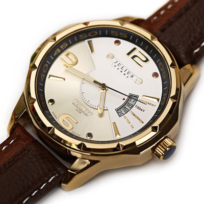 Julius Luxury Waterproof Watches with Calendar Round Dial and Leather Band for Men