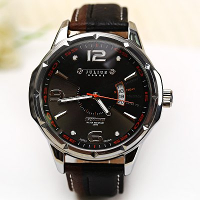 Гаджет   Julius Luxury Waterproof Watches with Calendar Round Dial and Leather Band for Men Men