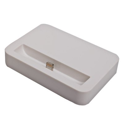 Compact Base Dock Power Charger with 1 M USB Cable for iPhone 5 - White