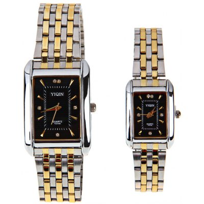 Гаджет   Luxury Watches with Diamonds Rectangle Dial and Steel Band for Couple Watches