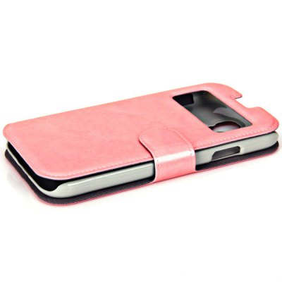 Cool Caller Identification Phone PU Leather Protective Cover for Samsung Galaxy S4 i9500 ( Pink )