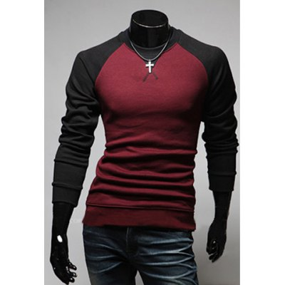 Fashion Style Scoop Neck Long Sleeves Slimming Polyester T-Shirt For Men