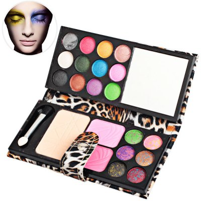 Portable Makeup Palette with 18 Colors Eye Shadows 2 Blushers and Foundation Mirror Eye Shadow Brush