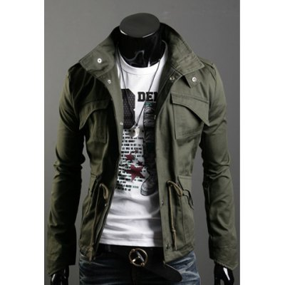 Fashionable Casual Style Multi-Pockets Design Slimming Bleach Wash Jacket For Men