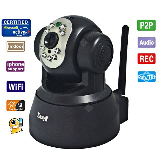 EasyN F3-M166 1/4 CMOS 30000 Pixel 3.6mm Wireless IP Camera Cam with Night Version Function - Black