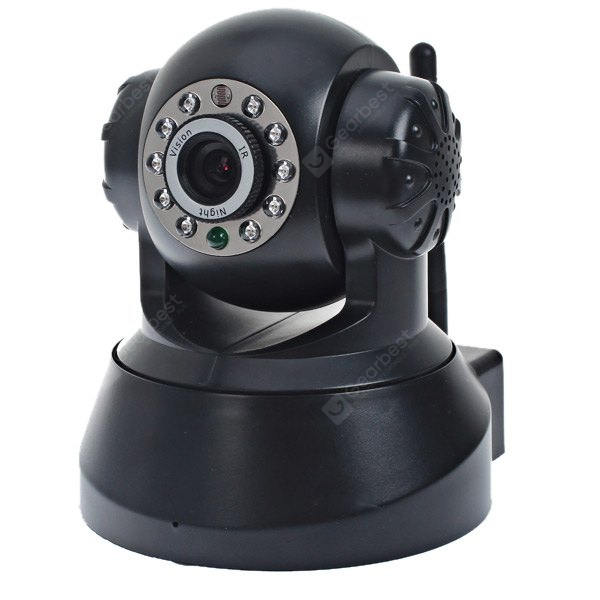 ESN-0510 1/4 CMOS Sensor 300000 Pixel 3.6mm 10 IR LEDs Wireless IP Camera Cam with Night Vision Function with P2P Technology - Black