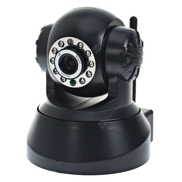 ESN-0510 1/4 CMOS Sensor 300000 Pixel 3.6mm 10 IR LEDs Wireless IP Camera Cam with Night Vision Function - Black