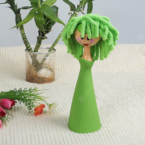 Touching Cleaner Tool with Stylish Chenille Unique Doll Design (Jade Green)