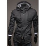 Buy Fashion Style Hooded Double Pockets Embellished Long Sleeves Polyester Jacket Men M