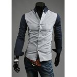Buy Sophisticated Shirt Collar Color Block Long Sleeves Polyester Men XL NAVY