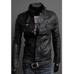 Buy Black Fashion Style Slimming Stand Collar Multi-Zipper Embellished PU Leather Men's Jacket-46.37 Online Shopping GearBest.com