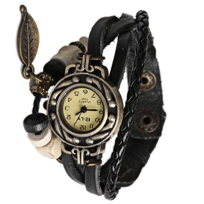 Гаджет   IELY Quartz Watch with 12 Numbers Indicate Leather Watch Band for Women - Black Women