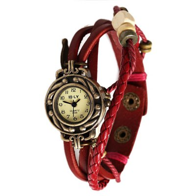 IELY Quartz Watch with 12 Numbers Indicate Leather Watch Band for Women - Red