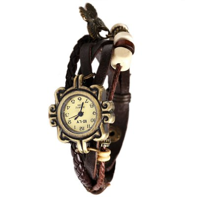Гаджет   IELY Quartz Watch with 12 Numbers Indicate Leather Watch Band for Women (Dark Brown)