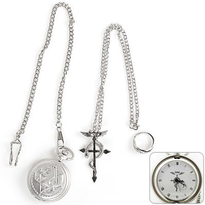 3 - in - 1 Hot Anime Fullmetal Alchemist Characteristic Pocket Watch + Pendant Necklace + Ring Set