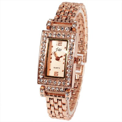 JW Quartz Watch with 2 Numbers and Dots Indicate Steel Watch Band for Women - Golden Dial