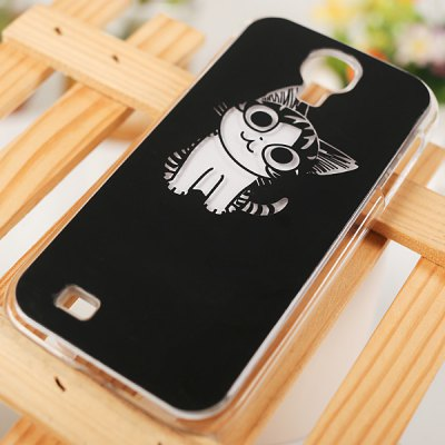 Cool Cat Style Flasher LED Color Changed Protector PC Case for Samsung Galaxy S4 i9500 / i9505 ( Flash While Calling or Called ) - Black