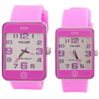 Fashion Watch with Rectangle Dial and Silicon Band for CoupleWatches &amp; Jewelry<br>Fashion Watch with Rectangle Dial and Silicon Band for Couple<br><br>Watches categories: Couple tables<br>Watch style: Fashion<br>Style elements: Big dial<br>Color: Purple<br>Shape of the dial: Rectangular<br>Movement type: Quartz watch<br>Display type: Pointer<br>The bottom of the table: Ordinary<br>Case material: Stainless steel<br>Band material: Rubber<br>Clasp type: Pin buckle<br>Waterproof: Life waterproof<br>Special features: Three needle<br>Package weight: 0.189 kg<br>Package size (L x W x H): 27 x 5.3 x 1.9 cm<br>The male dial dimension (L x W x H): 5.4 x 4.3 x 0.9 cm<br>The male watch band dimension (L x W): 26 x 2.6 cm<br>The male watch weight: 0.078 kg<br>The male watch size (L x W x H): 26 x 4.3 x 0.9 cm<br>The female dial dimension (L x W x H): 4.6 x 3.7 x 0.9 cm<br>The female watch band dimension (L x W): 25.2 x 2.3 cm<br>The female watch weight: 0.061 kg<br>The female size (L x W x H): 25.2 x 3.7 x 0.9 cm<br>Package contents: 2 x Watch
