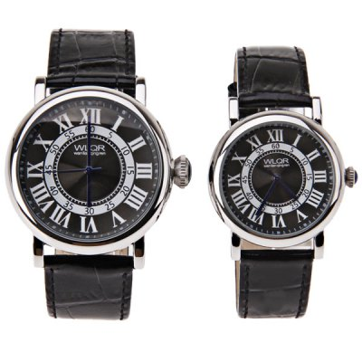 WLQR Couples Watch with Round Dial Leather WatchbandWatches &amp; Jewelry<br>WLQR Couples Watch with Round Dial Leather Watchband<br><br>Watches categories: Couple tables<br>Watch style: Fashion<br>Color: Black<br>Shape of the dial: Circular<br>Movement type: Quartz watch<br>Display type: Pointer<br>The bottom of the table: Ordinary<br>Case material: Stainless steel<br>Band material: Leather<br>Clasp type: Pin buckle<br>Waterproof: Life waterproof<br>Special features: Three needle<br>Package weight: 0.138 kg<br>Package size (L x W x H): 26.6 x 5.5 x 2.1 cm<br>The male dial dimension (L x W x H): 4.8 x 4.5 x 1.1 cm<br>The male watch band dimension (L x W): 25.6 x 2 cm<br>The male watch weight: 0.054 kg<br>The male watch size (L x W x H): 25.6 x 4.5 x 1.1 cm<br>The female dial dimension (L x W x H): 4 x 3.6 x 1.1 cm<br>The female watch band dimension (L x W): 23.5 x 1.7 cm<br>The female watch weight: 0.034 kg<br>The female size (L x W x H): 23.5 x 3.6 x 1.1 cm<br>Package contents: 2 x Watch