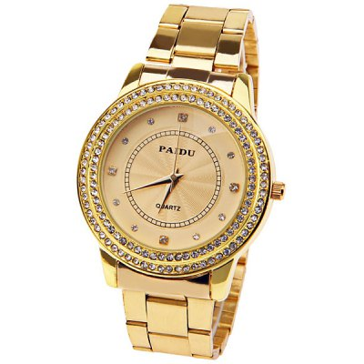 Paidu Quartz Watch with Diamond Squares and Dots Indicate Steel Watch Band for Women - Golden