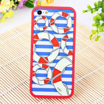 Dual Colour Circles in Blue Streak Background Dismountable Case Cover for iPhone 5