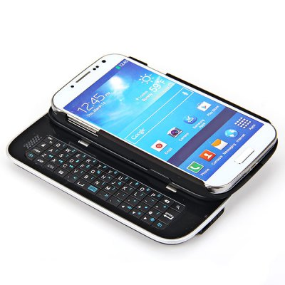 Super Cool Design Sliding Bluetooth Keyboard with Detachable Case for Samsung Galaxy S4 - Black