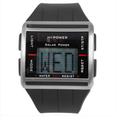 Hi-power Waterproof Rubber Band Watches with Green LED Display Round Shaped - Black