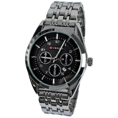 Curren Men Watch Time Showed by Numbers and Strips Round Dial Steel Watchband