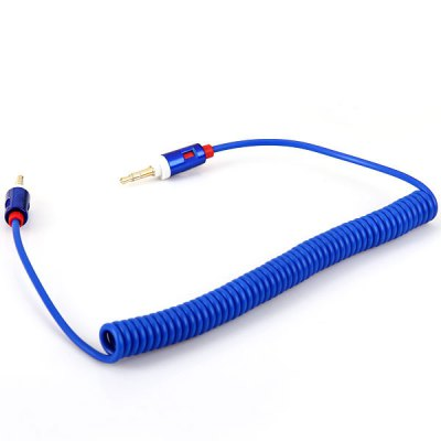 High Quality Universal 3.5mm Interface Male to Male Retractable Audio Cable - Blue