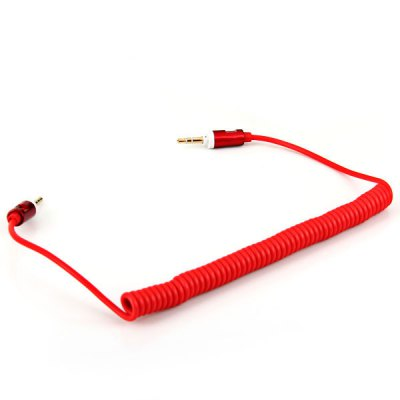 High Quality Universal 3.5mm Interface Male to Male Retractable Audio Cable - Red