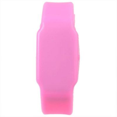 Waterproof Rubber Band Watches with Red LED Display Round Shaped (Pink)
