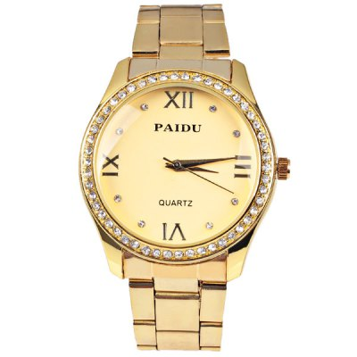 Paidu Quartz Watch 4 Roman Number and Diamond Dots Indicate Steel Watch Band for Women - GoldenWomens Watches<br>Paidu Quartz Watch 4 Roman Number and Diamond Dots Indicate Steel Watch Band for Women - Golden<br><br>Watches categories: Female table<br>Available color: Gold<br>Style : Diamond<br>Movement type: Quartz watch<br>Shape of the dial: Circular<br>Display type: Pointer<br>The bottom of the table: Ordinary<br>Case material: Metal<br>Case color: Gold<br>Band material: Steel<br>Clasp type: Buckle<br>Band color: Gold<br>Waterproof: Life waterproof<br>Special features: Three needles<br>The dial thickness: 0.7 cm<br>The dial diameter: 4.1 cm<br>Product weight: 0.07 kg<br>Package weight: 0.12 kg<br>Product size (L x W x H) : 22.6 x 4.1 x 1.2 cm<br>Package size (L x W x H): 23.6 x 5.1 x 2.2 cm<br>Package contents: 1 x Watch