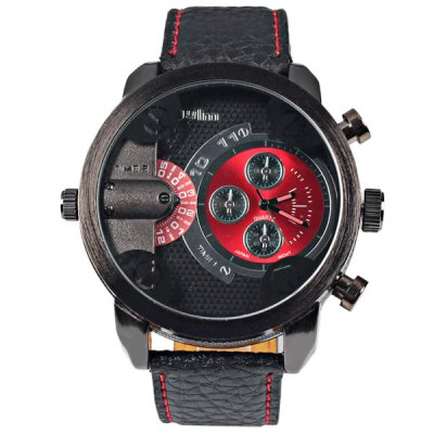 Гаджет   Military Watches with Japan Double - movt Three Small Decorating Hands Round Dial and Leather Band Watches