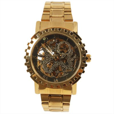 ФОТО Mechanical Watch 12 Roman Numbers Hour Marks Round Dial with Steel Watchband for Men (Golden)