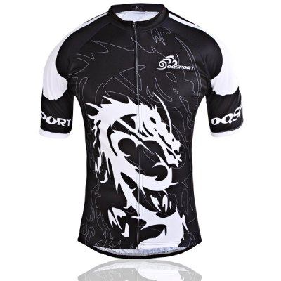2XL Size Super Comfortable Short Sleeve Biking Cycling Jersey Suit Set of Dragon Pattern for Men - Black