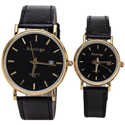 Valentine Rosivga Couples Watch with Round Dial Leather WatchbandWatches &amp; Jewelry<br>Valentine Rosivga Couples Watch with Round Dial Leather Watchband<br><br>Brand: Rosivga<br>Watches categories: Couple tables<br>Watch style: Fashion<br>Color: Black<br>Shape of the dial: Circular<br>Movement type: Quartz watch<br>Display type: Pointer<br>The bottom of the table: Ordinary<br>Case material: Stainless steel<br>Band material: Leather<br>Clasp type: Pin buckle<br>Waterproof: Life waterproof<br>Special features: Calendar, Three needle<br>Package weight: 0.09 kg<br>Package size (L x W x H): 25.1 x 5 x 1.9 cm<br>The male dial dimension (L x W x H): 4.3 x 4 x 0.9 cm<br>The male watch band dimension (L x W): 25.6 x 2 cm<br>The male watch weight: 0.026 kg<br>The male watch size (L x W x H): 24.1 x 4 x 0.9 cm<br>The female dial dimension (L x W x H): 3.1 x 2.8 x 0.8 cm<br>The female watch band dimension (L x W): 20.2 x 1.2 cm<br>The female watch weight: 0.014 kg<br>The female size (L x W x H): 20.2 x 2.8 x 0.8 cm<br>Package contents: 2 x Watch