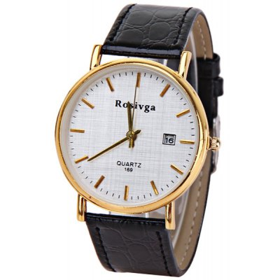 Rosivga Men Watch with Round Shaped Quartz Dial Leather Watchband