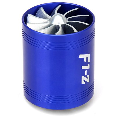 F1-Z Universal Air Intake Dual Turbonat or Turbo Fuel Saver Fan - BlueCar Ornaments &amp; Pendant<br>F1-Z Universal Air Intake Dual Turbonat or Turbo Fuel Saver Fan - Blue<br><br>Product weight   : 260 g<br>Package weight   : 0.415 kg<br>Product size (L x W x H)  : 6.5 x 6.5 x 7.5 cm<br>Package size (L x W x H)  : 17.9 x 12.1 x 8.1 cm<br>Package contents: 1 x Turbo Air Intake Saver Fan , 3 x Non-Slip Rubber Holder
