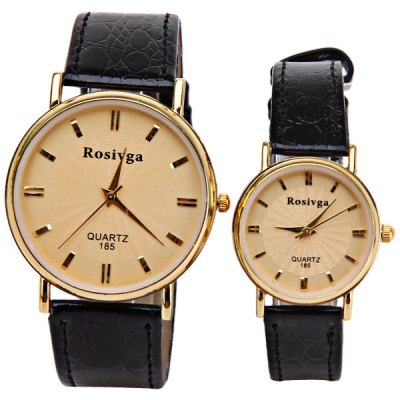 Rosivga Brand Couple Watch with Round Dial Leather Watch BandWatches &amp; Jewelry<br>Rosivga Brand Couple Watch with Round Dial Leather Watch Band<br><br>Brand: Rosivga<br>Watches categories: Couple tables<br>Watch style: Fashion<br>Color: Gold<br>Shape of the dial: Round<br>Movement type: Quartz watch<br>Display type: Pointer<br>The bottom of the table: Ordinary<br>Case material: Stainless steel<br>Band material: Leather<br>Clasp type: Pin buckle<br>Waterproof: Life waterproof<br>Special features: Three needle<br>Package weight: 0.089 kg<br>Package size (L x W x H): 25.1 x 5 x 1.8  cm<br>The male dial dimension (L x W x H): 4.3 x 4 x 0.8 cm<br>The male watch band dimension (L x W): 24.1 x 1.8 cm<br>The male watch weight: 0.025 kg<br>The male watch size (L x W x H): 24.1 x 4 x 0.8 cm<br>The female dial dimension (L x W x H): 3.1 x 2.8 x 0.8 cm<br>The female watch band dimension (L x W): 20.2 x 1.2 cm<br>The female watch weight: 0.014 kg<br>The female size (L x W x H): 20.2 x 2.8 x 0.8 cm<br>Package contents: 2 x Watch