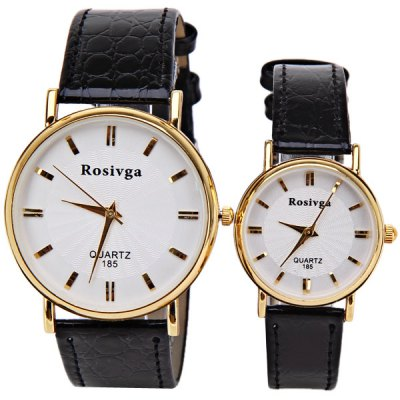 Гаджет   Rosivga Brand Couple Watch with Round Dial Leather Watch Band