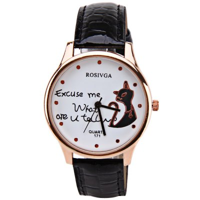 Гаджет   Rosivga Quartz Watch with Dots Indicate Leather Watch Band for Women - Black Women